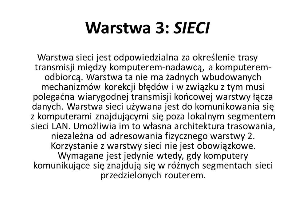 Warstwa 3: SIECI Warstwa sieci jest odpowiedzialna za określenie trasy transmisji między komputerem-nadawcą, a komputerem- odbiorcą. Warstwa ta nie ma