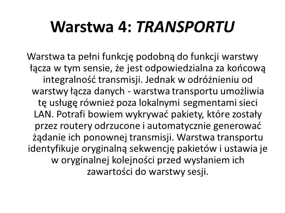 Warstwa 4: TRANSPORTU Warstwa ta pełni funkcję podobną do funkcji warstwy łącza w tym sensie, że jest odpowiedzialna za końcową integralność transmisj