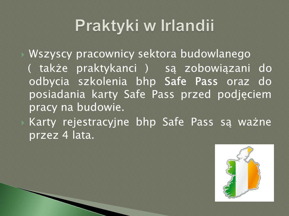  Wszyscy pracownicy sektora budowlanego ( także praktykanci ) są zobowiązani do odbycia szkolenia bhp Safe Pass oraz do posiadania karty Safe Pass przed podjęciem pracy na budowie.