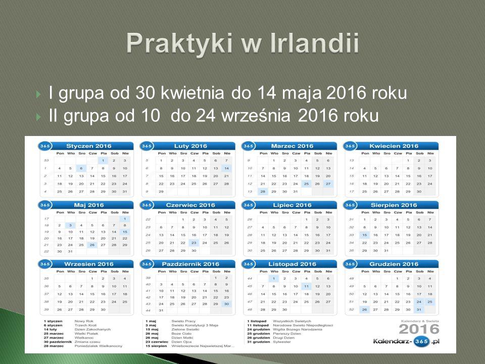  I grupa od 30 kwietnia do 14 maja 2016 roku  II grupa od 10 do 24 września 2016 roku