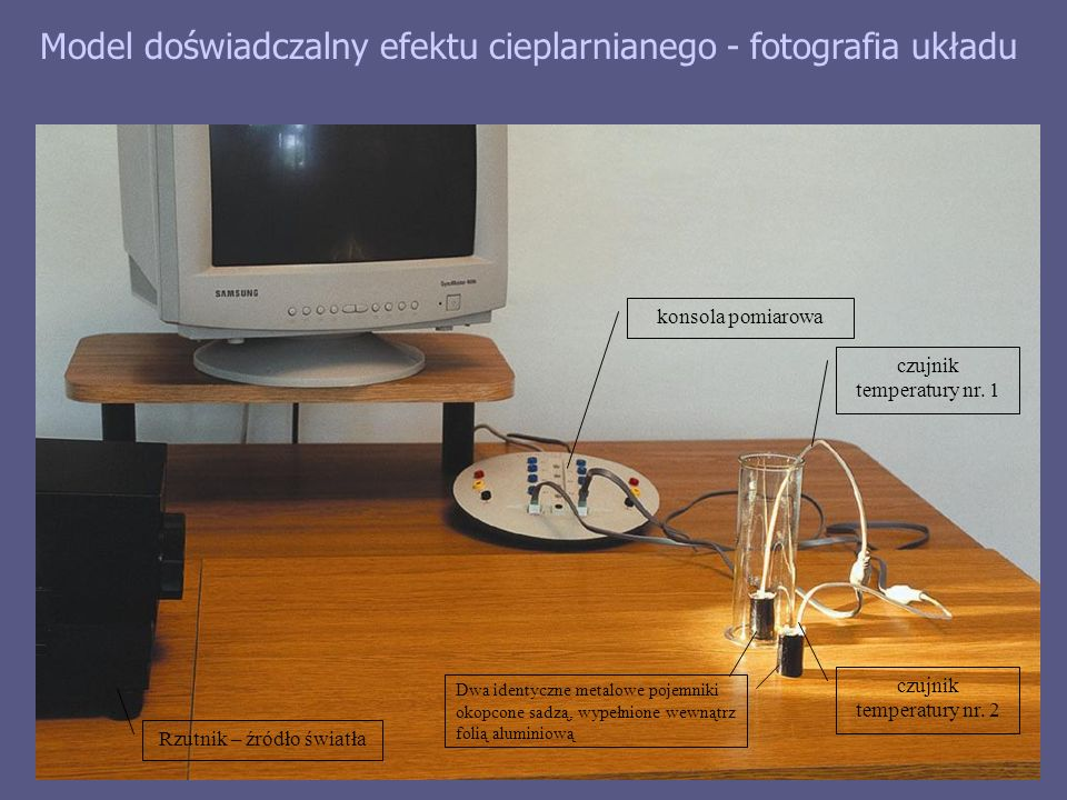 Model doświadczalny efektu cieplarnianego - fotografia układu konsola pomiarowa czujnik temperatury nr.