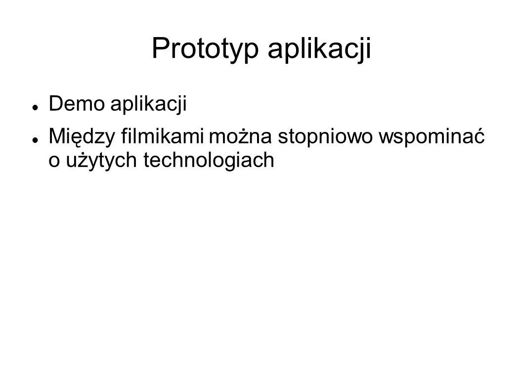 Prototyp aplikacji Demo aplikacji Między filmikami można stopniowo wspominać o użytych technologiach