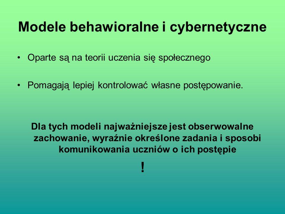 Modele behawioralne i cybernetyczne Oparte są na teorii uczenia się społecznego Pomagają lepiej kontrolować własne postępowanie. Dla tych modeli najwa
