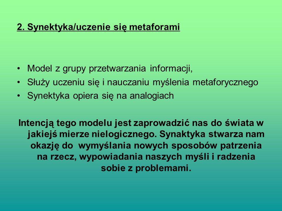 2. Synektyka/uczenie się metaforami Model z grupy przetwarzania informacji, Służy uczeniu się i nauczaniu myślenia metaforycznego Synektyka opiera się