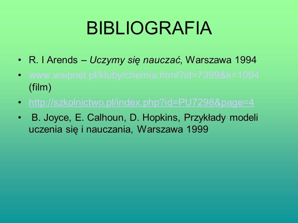 BIBLIOGRAFIA R. I Arends – Uczymy się nauczać, Warszawa 1994 www.wsipnet.pl/kluby/chemia.html?id=7399&k=1094 (film) http://szkolnictwo.pl/index.php?id