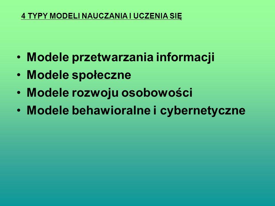 Modele przetwarzania informacji Modele społeczne Modele rozwoju osobowości Modele behawioralne i cybernetyczne