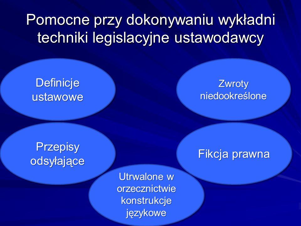 Pomocne przy dokonywaniu wykładni techniki legislacyjne ustawodawcy Definicje ustawowe Przepisy odsyłające Fikcja prawna Zwroty niedookreślone Utrwalo