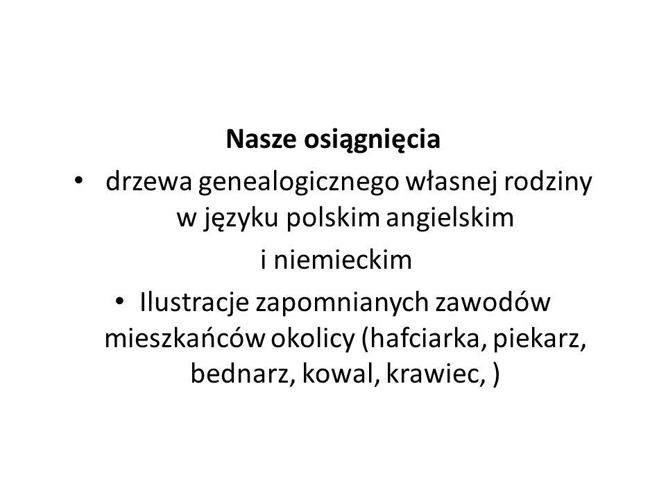 Nasze osiągnięcia drzewa genealogicznego własnej rodziny w języku polskim angielskim i niemieckim Ilustracje zapomnianych zawodów mieszkańców okolicy