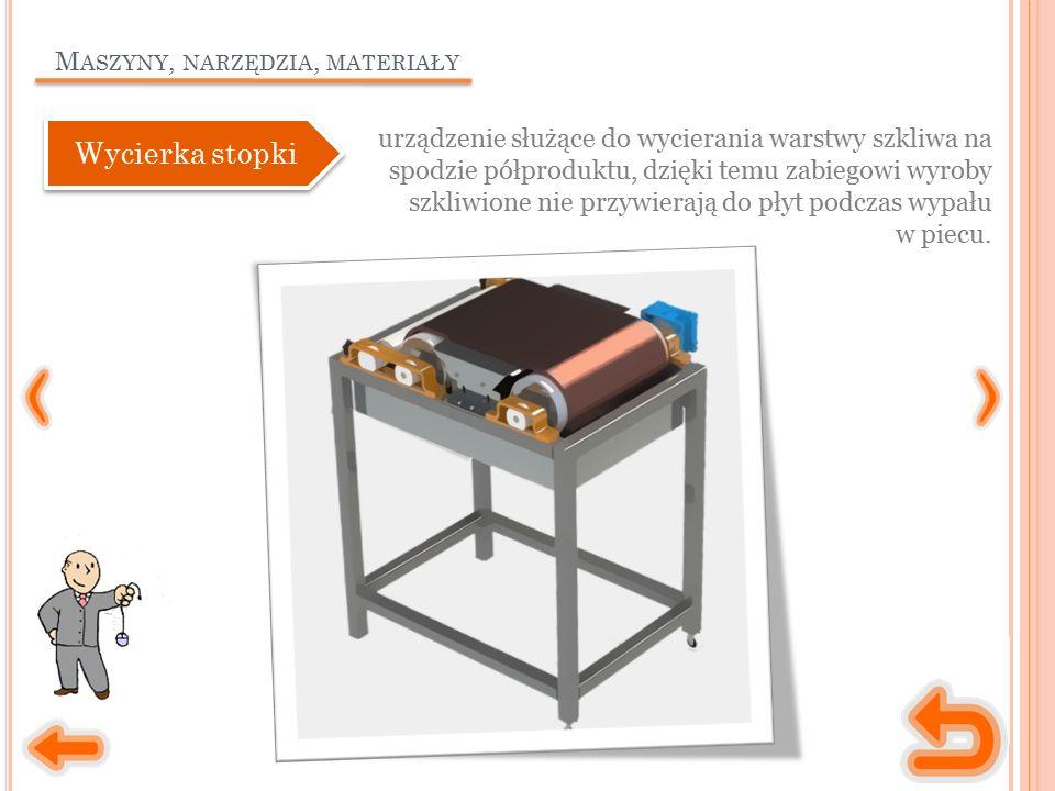 M ASZYNY, NARZĘDZIA, MATERIAŁY urządzenie służące do wycierania warstwy szkliwa na spodzie półproduktu, dzięki temu zabiegowi wyroby szkliwione nie przywierają do płyt podczas wypału w piecu.