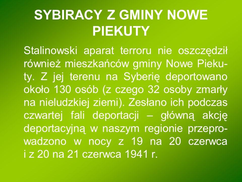 SYBIRACY Z GMINY NOWE PIEKUTY Stalinowski aparat terroru nie oszczędził również mieszkańców gminy Nowe Pieku- ty. Z jej terenu na Syberię deportowano