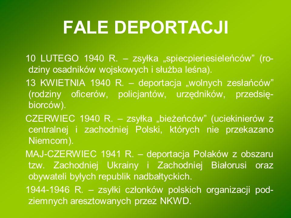 """FALE DEPORTACJI 10 LUTEGO 1940 R. – zsyłka """"spiecpieriesieleńców"""" (ro- dziny osadników wojskowych i służba leśna). 13 KWIETNIA 1940 R. – deportacja """"w"""