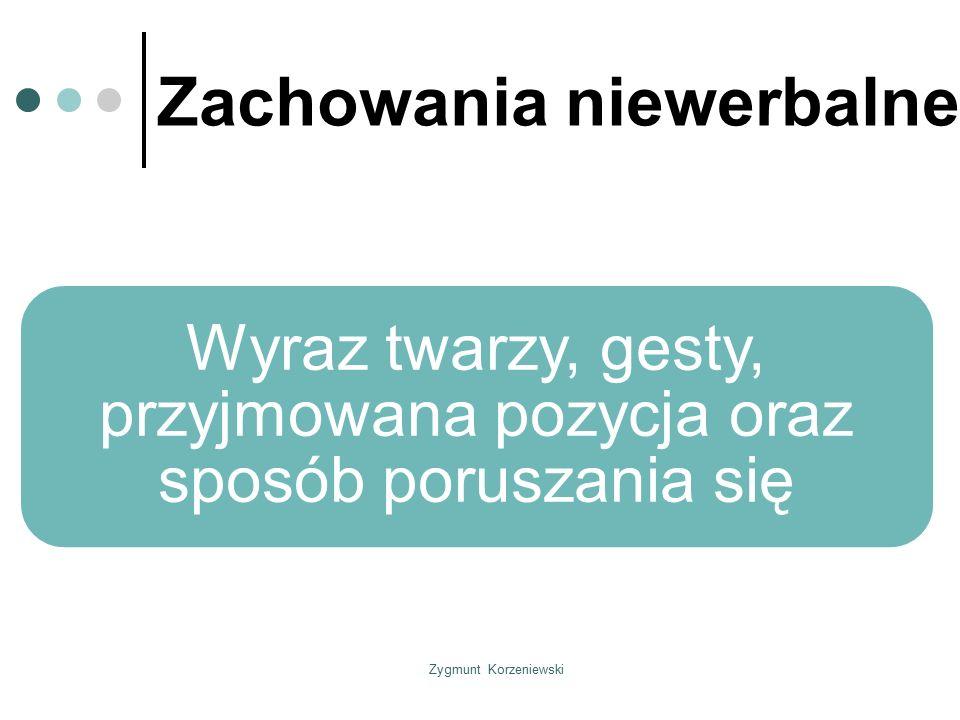 Zygmunt Korzeniewski Zachowania niewerbalne Wyraz twarzy, gesty, przyjmowana pozycja oraz sposób poruszania się