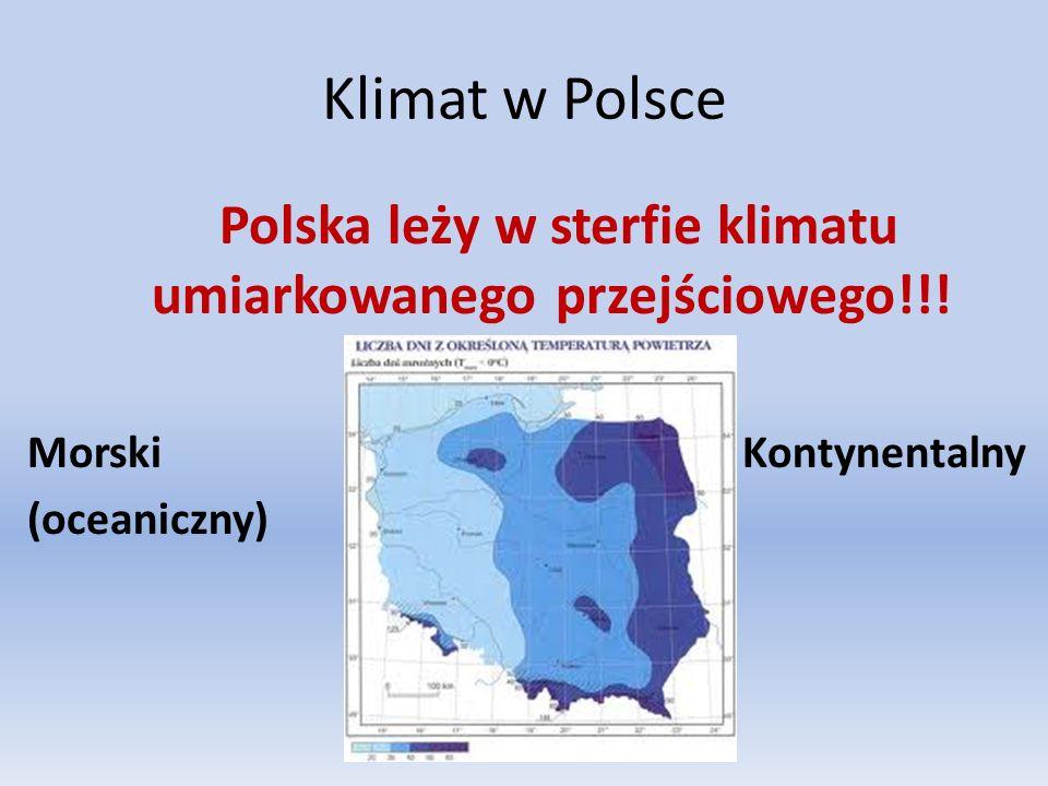 Klimat w Polsce Polska leży w sterfie klimatu umiarkowanego przejściowego!!! Morski Kontynentalny (oceaniczny)