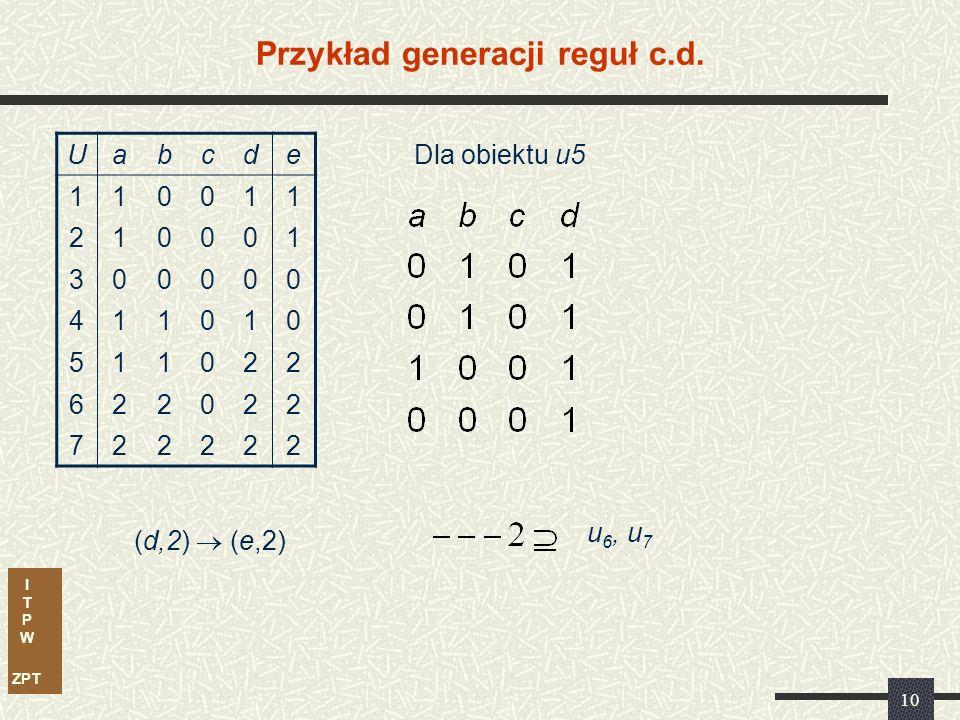 I T P W ZPT 10 Przykład generacji reguł c.d. Uabcde 110011 210001 300000 411010 511022 622022 722222 (d,2)  (e,2) Dla obiektu u5 u 6, u 7