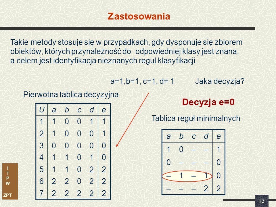 I T P W ZPT 12 Zastosowania Uabcde 110011 210001 300000 411010 511022 622022 722222 Pierwotna tablica decyzyjna abcde 10––1 0–––0 –1–10 –––22 Tablica reguł minimalnych Takie metody stosuje się w przypadkach, gdy dysponuje się zbiorem obiektów, których przynależność do odpowiedniej klasy jest znana, a celem jest identyfikacja nieznanych reguł klasyfikacji.