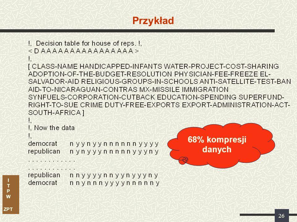 I T P W ZPT 26 Przykład 68% kompresji danych