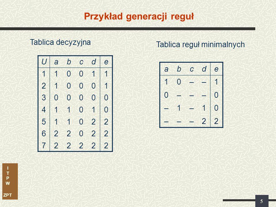 I T P W ZPT 5 Przykład generacji reguł Uabcde 110011 210001 300000 411010 511022 622022 722222 Tablica decyzyjna abcde 10––1 0–––0 –1–10 –––22 Tablica reguł minimalnych