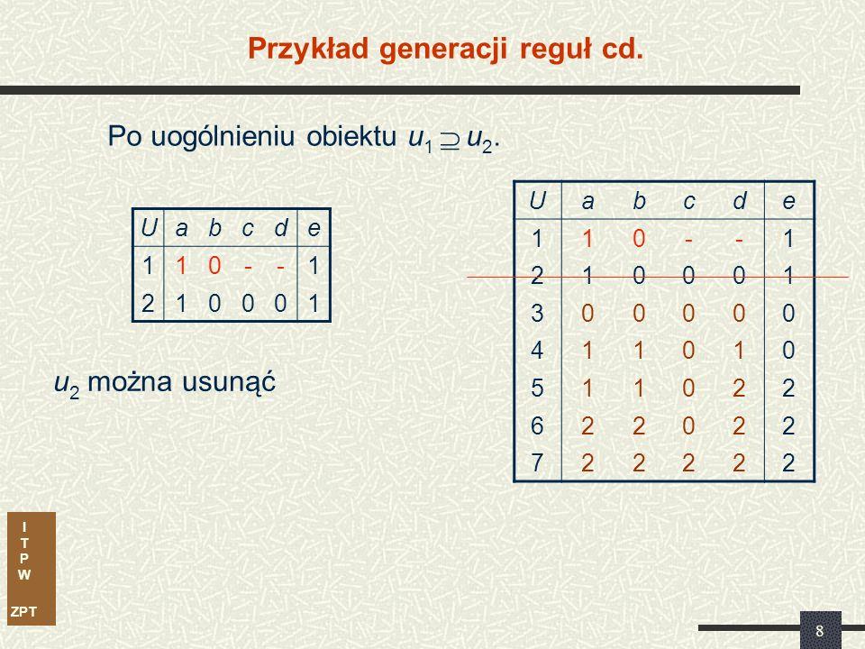 I T P W ZPT 8 Przykład generacji reguł cd. Uabcde 110--1 210001 Po uogólnieniu obiektu u 1  u 2. u 2 można usunąć Uabcde 110--1 210001 300000 411010