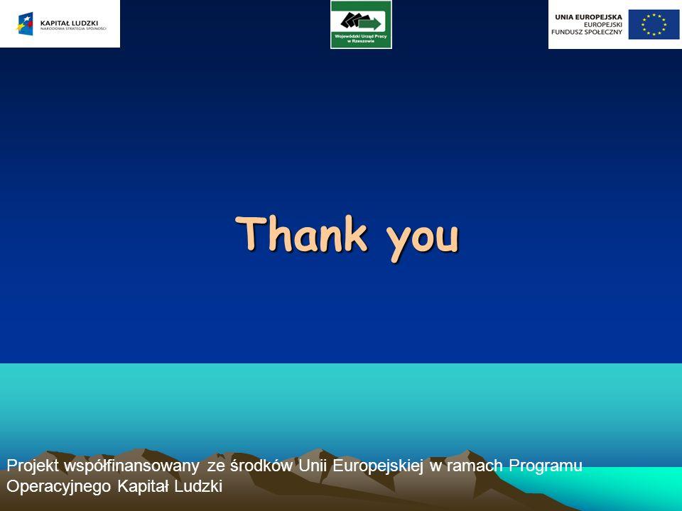 Projekt współfinansowany ze środków Unii Europejskiej w ramach Programu Operacyjnego Kapitał Ludzki Thank you