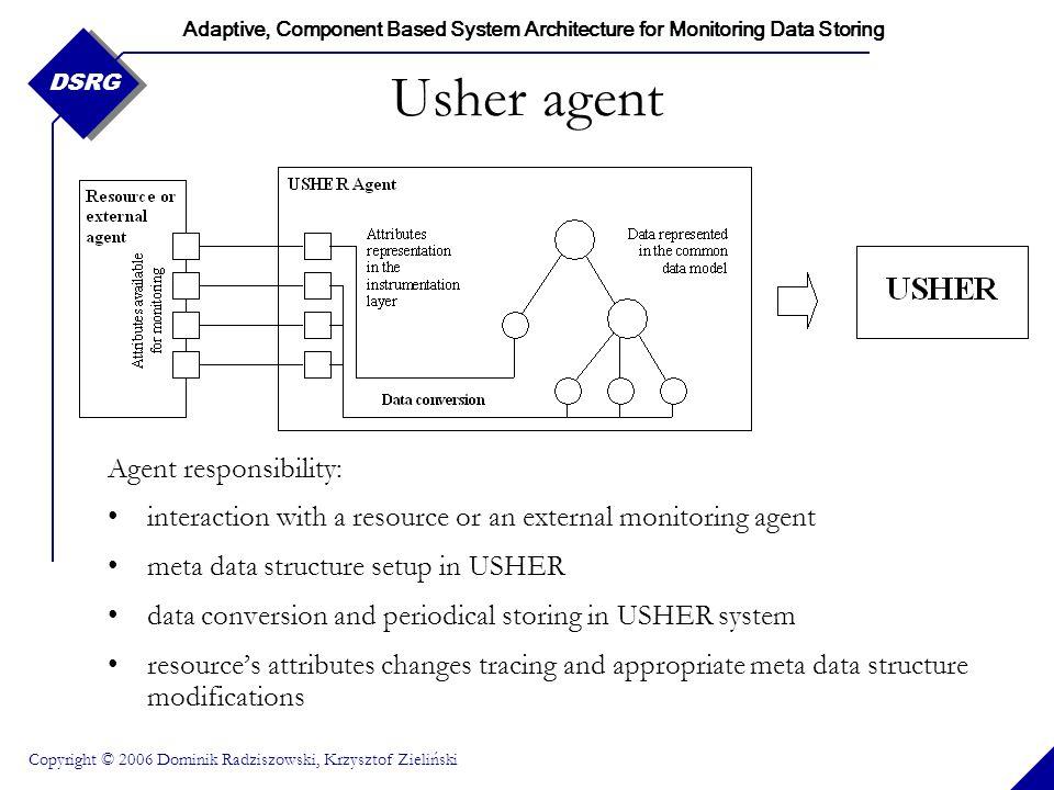 Adaptive, Component Based System Architecture for Monitoring Data Storing Copyright © 2006 Dominik Radziszowski, Krzysztof Zieliński DSRG Usher agent