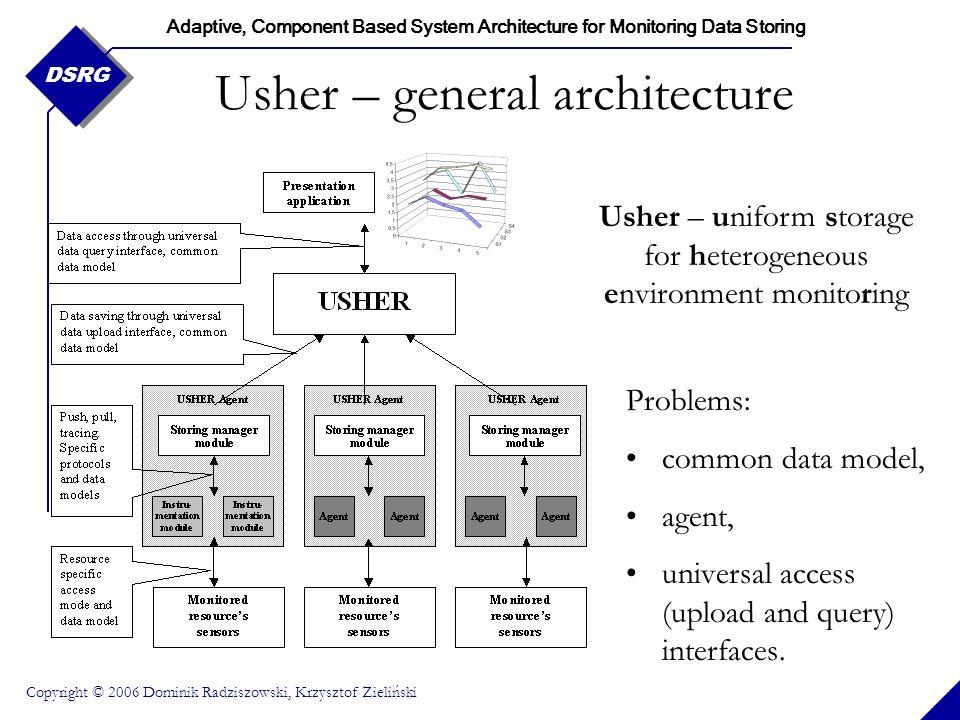 Adaptive, Component Based System Architecture for Monitoring Data Storing Copyright © 2006 Dominik Radziszowski, Krzysztof Zieliński DSRG Usher – gene