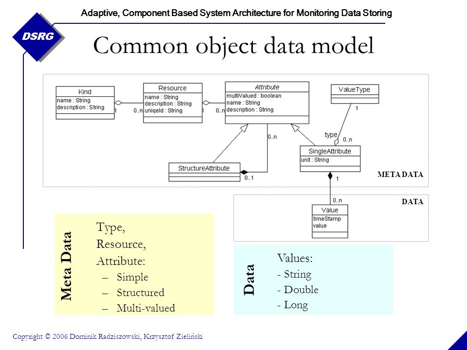Adaptive, Component Based System Architecture for Monitoring Data Storing Copyright © 2006 Dominik Radziszowski, Krzysztof Zieliński DSRG Common objec