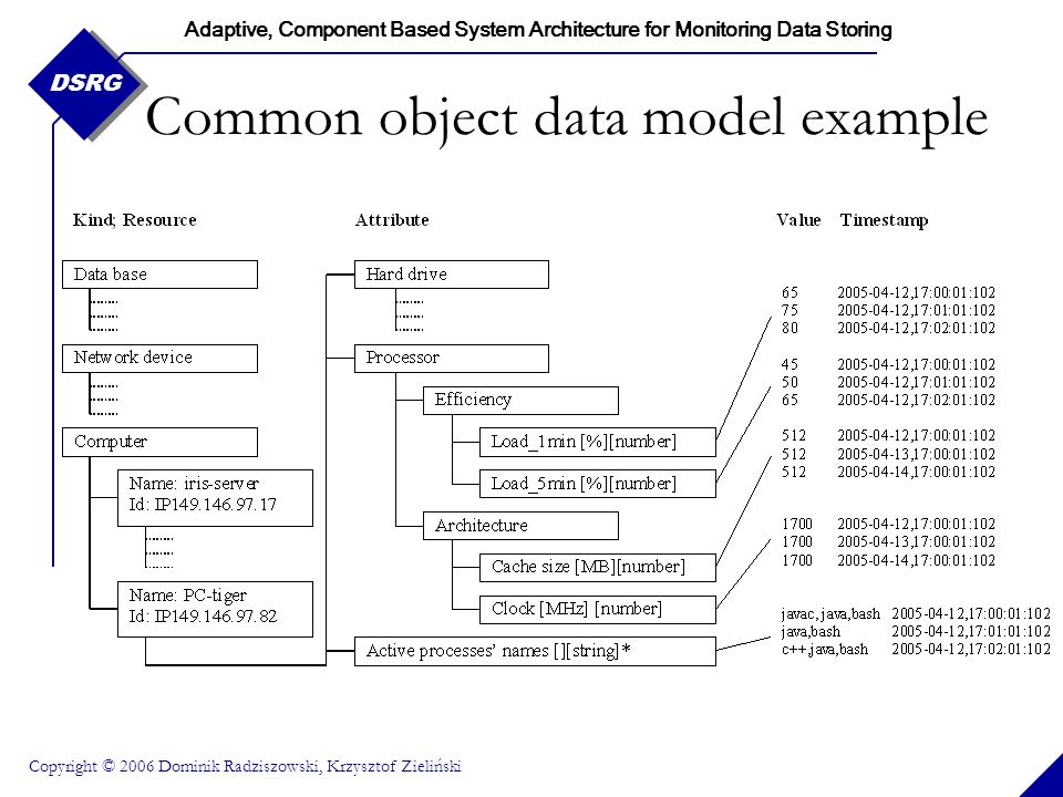 Adaptive, Component Based System Architecture for Monitoring Data Storing Copyright © 2006 Dominik Radziszowski, Krzysztof Zieliński DSRG Common object data model example