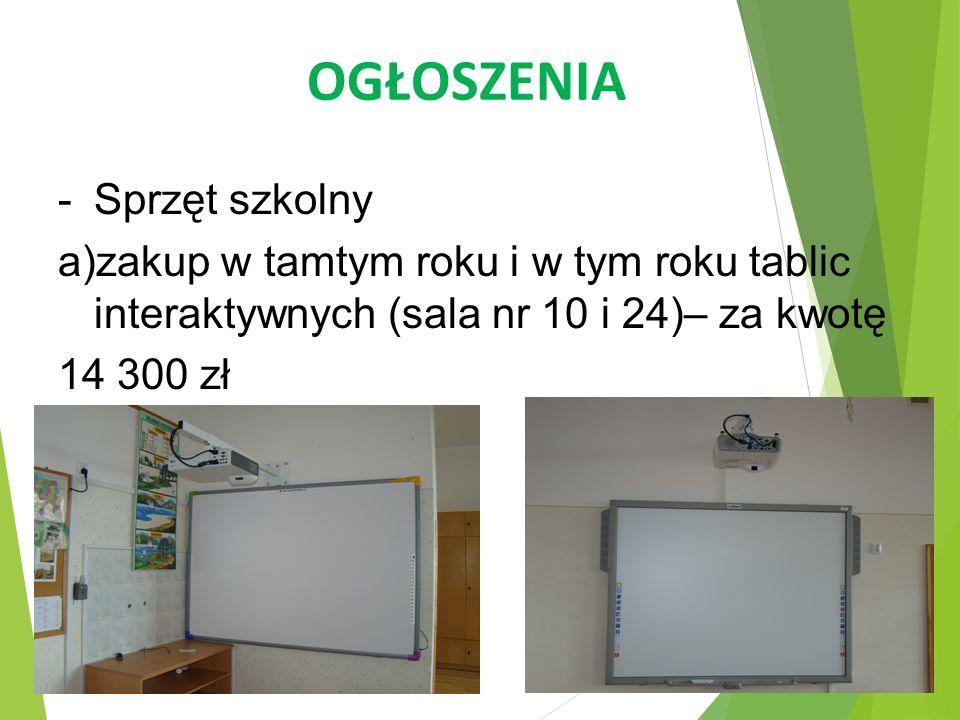 OGŁOSZENIA -Sprzęt szkolny a)zakup w tamtym roku i w tym roku tablic interaktywnych (sala nr 10 i 24)– za kwotę 14 300 zł