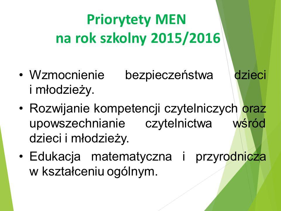 Priorytety MEN na rok szkolny 2015/2016 Wzmocnienie bezpieczeństwa dzieci i młodzieży. Rozwijanie kompetencji czytelniczych oraz upowszechnianie czyte
