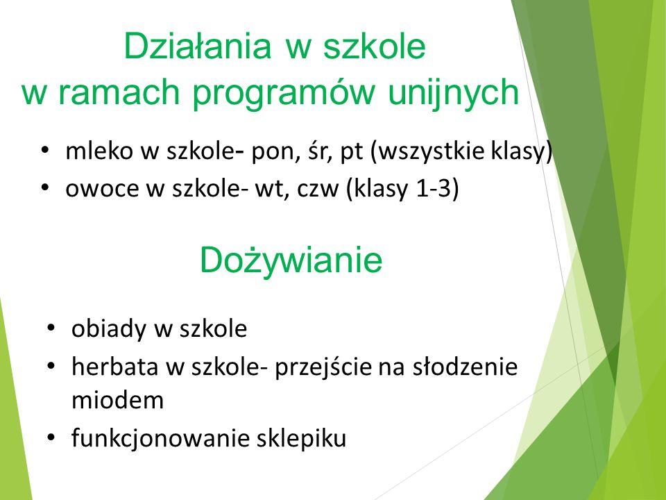 Działania w szkole w ramach programów unijnych mleko w szkole - pon, śr, pt (wszystkie klasy) owoce w szkole- wt, czw (klasy 1-3) D ożywianie obiady w