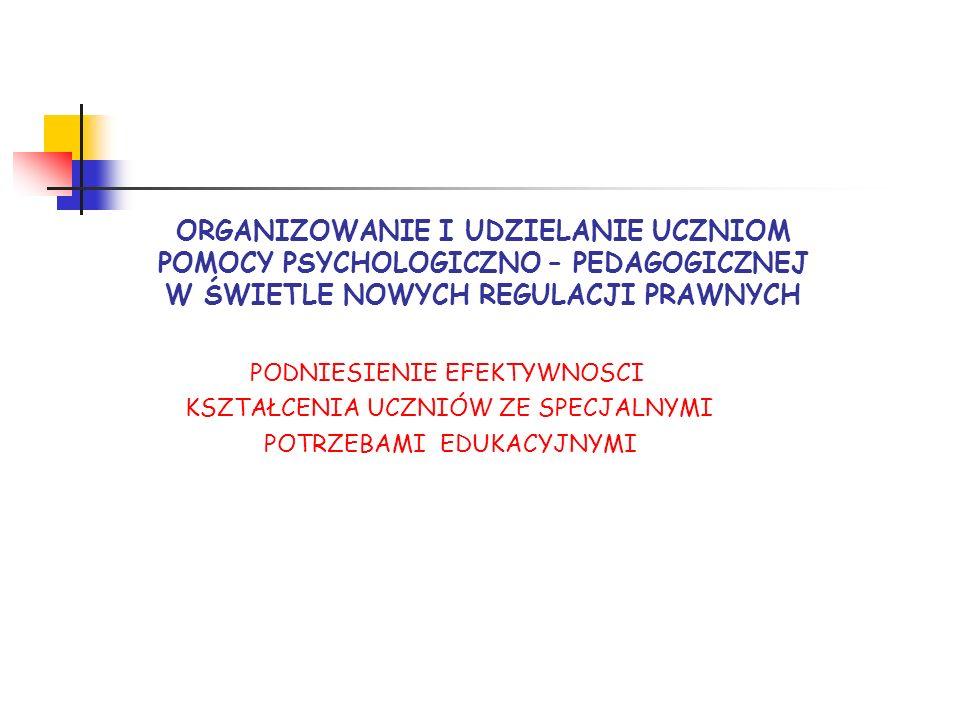 Nowe regulacje prawne ROZPORZĄDZENIE MINISTRA EDUKACJI NARODOWEJ z dnia 30 kwietnia 2013 r.