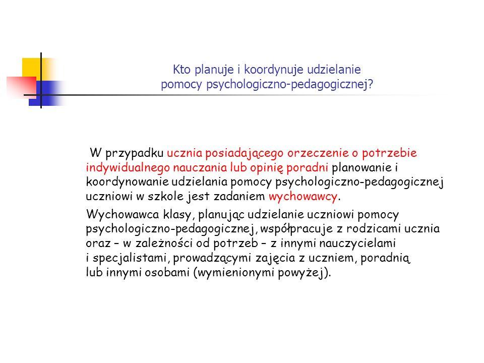 Kto planuje i koordynuje udzielanie pomocy psychologiczno-pedagogicznej? W przypadku ucznia posiadającego orzeczenie o potrzebie indywidualnego naucza