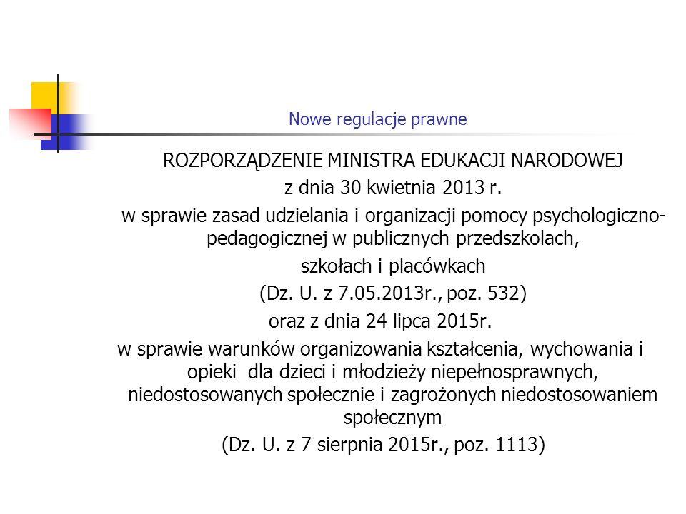Nowe regulacje prawne ROZPORZĄDZENIE MINISTRA EDUKACJI NARODOWEJ z dnia 30 kwietnia 2013 r. w sprawie zasad udzielania i organizacji pomocy psychologi