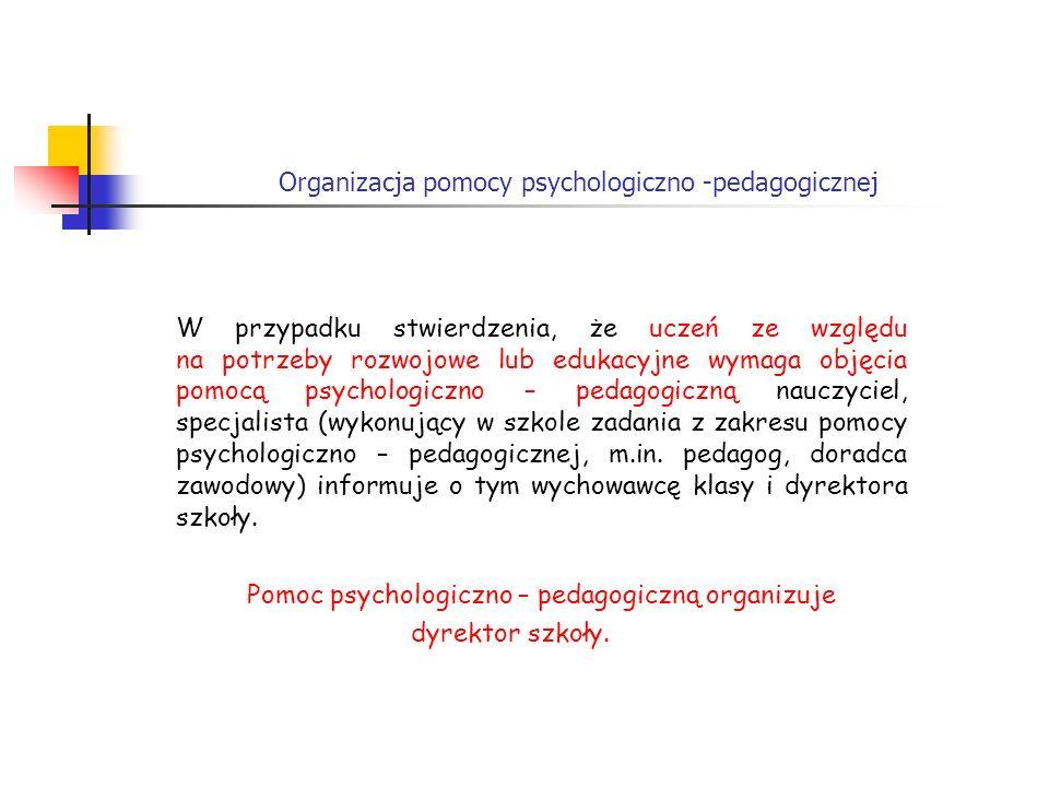 Organizacja pomocy psychologiczno -pedagogicznej W przypadku stwierdzenia, że uczeń ze względu na potrzeby rozwojowe lub edukacyjne wymaga objęcia pom