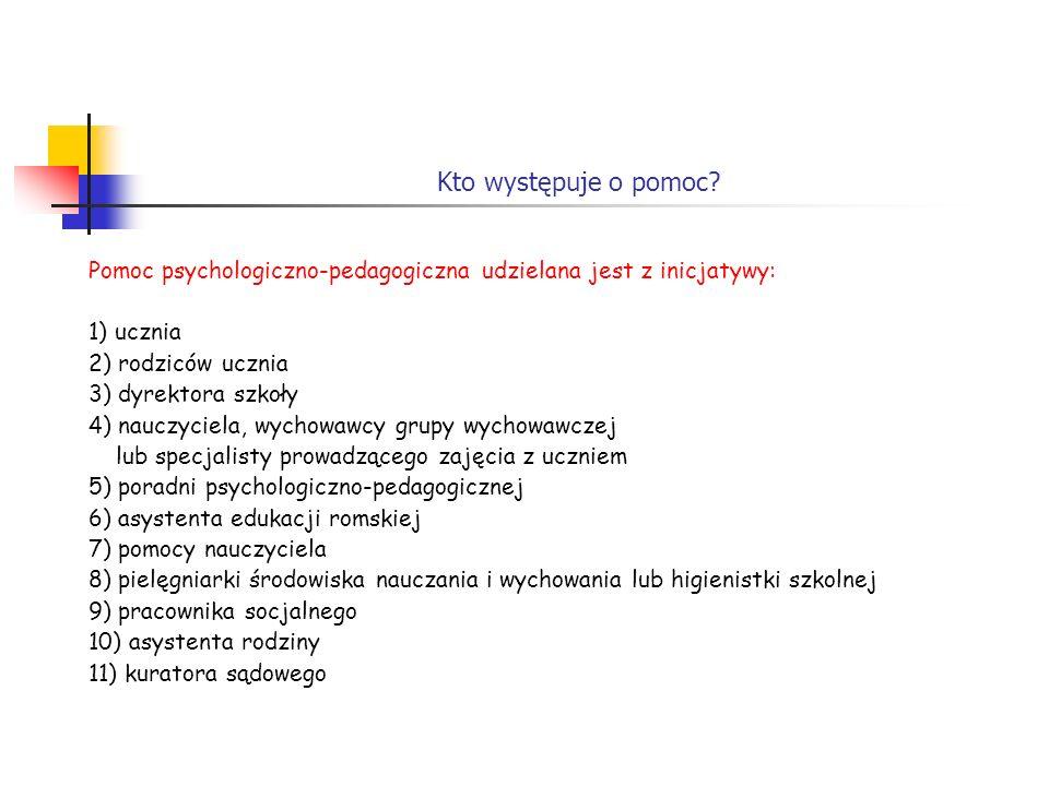 Kto występuje o pomoc? Pomoc psychologiczno-pedagogiczna udzielana jest z inicjatywy: 1) ucznia 2) rodziców ucznia 3) dyrektora szkoły 4) nauczyciela,