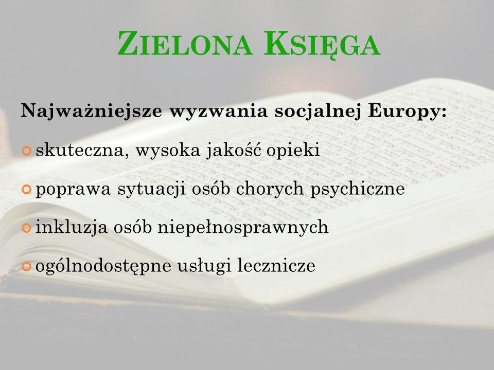Z IELONA K SIĘGA Najważniejsze wyzwania socjalnej Europy: skuteczna, wysoka jakość opieki poprawa sytuacji osób chorych psychiczne inkluzja osób niepe