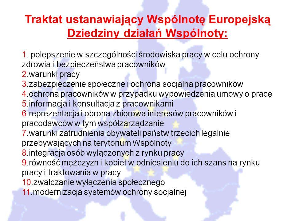 Traktat ustanawiający Wspólnotę Europejską Dziedziny działań Wspólnoty: 1. polepszenie w szczególności środowiska pracy w celu ochrony zdrowia i bezpi