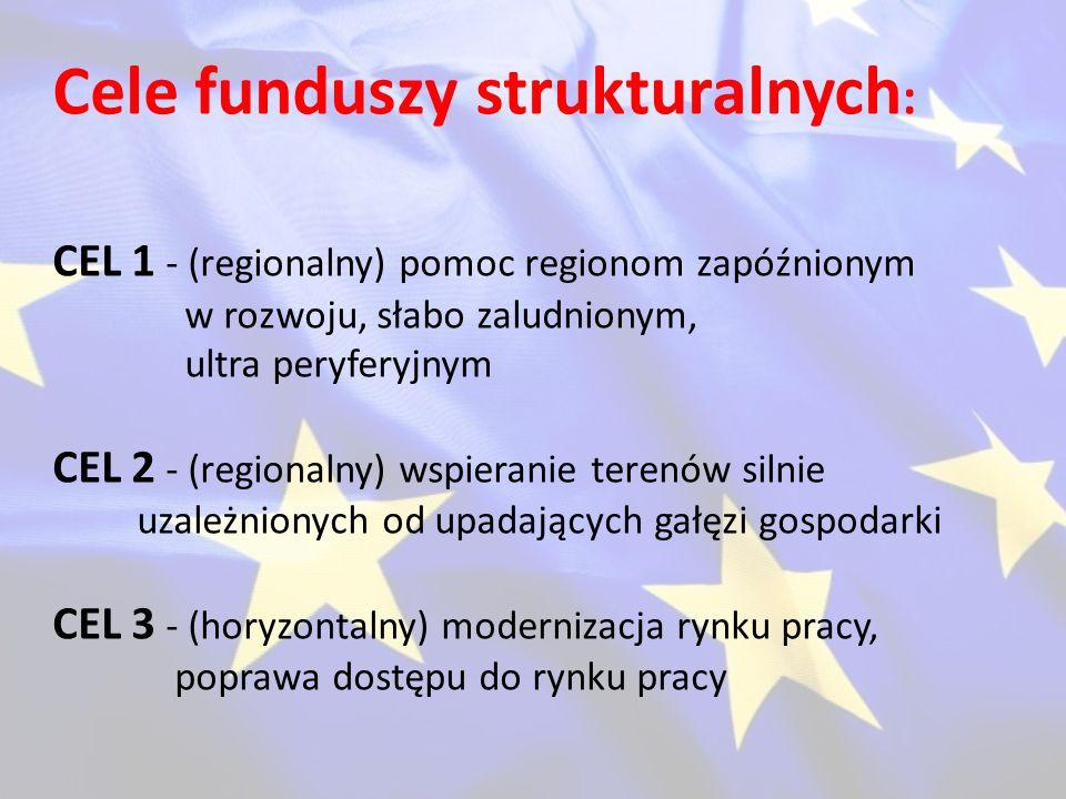 Cele funduszy strukturalnych : CEL 1 - (regionalny) pomoc regionom zapóźnionym w rozwoju, słabo zaludnionym, ultra peryferyjnym CEL 2 - (regionalny) w