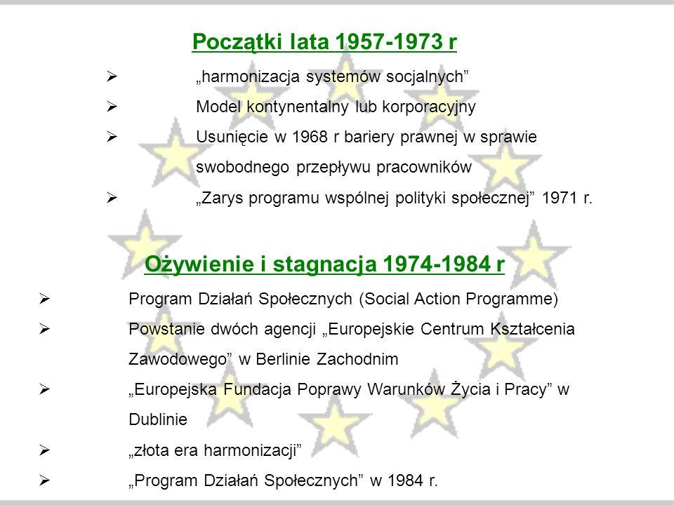 """Początki lata 1957-1973 r  """"harmonizacja systemów socjalnych""""  Model kontynentalny lub korporacyjny  Usunięcie w 1968 r bariery prawnej w sprawie s"""
