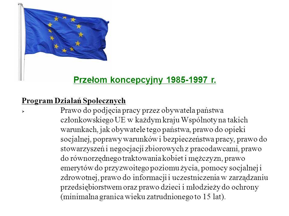 Przełom koncepcyjny 1985-1997 r. Program Działań Społecznych  Prawo do podjęcia pracy przez obywatela państwa członkowskiego UE w każdym kraju Wspóln