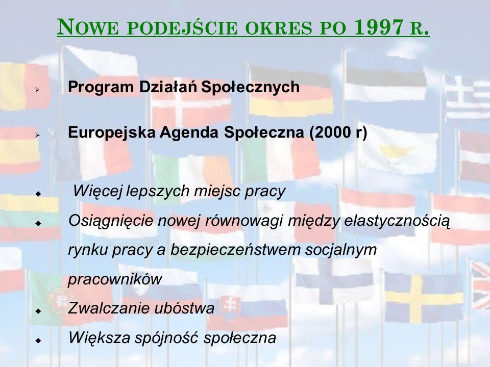  Program Działań Społecznych  Europejska Agenda Społeczna (2000 r)  Więcej lepszych miejsc pracy  Osiągnięcie nowej równowagi między elastyczności