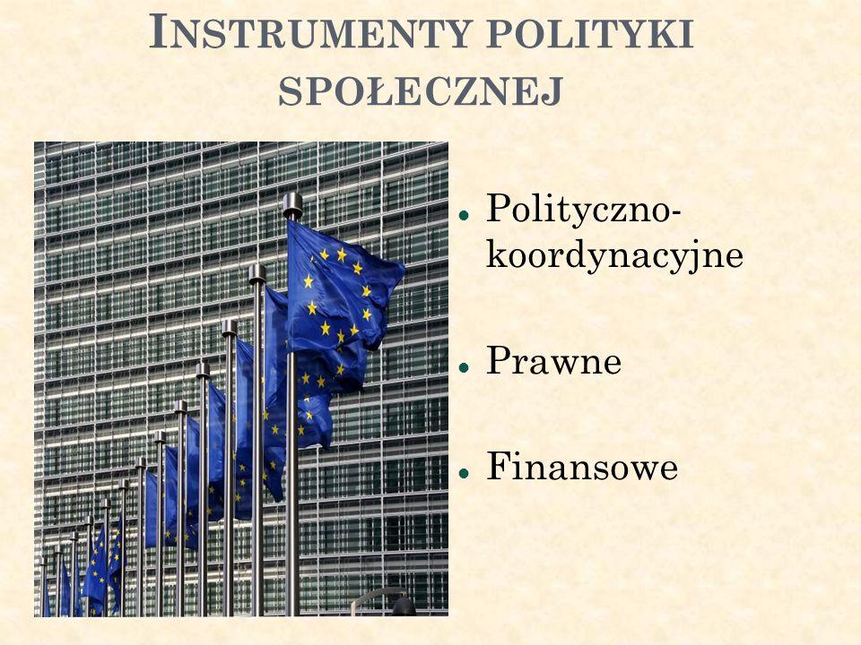 I NSTRUMENTY POLITYKI SPOŁECZNEJ Polityczno- koordynacyjne Prawne Finansowe