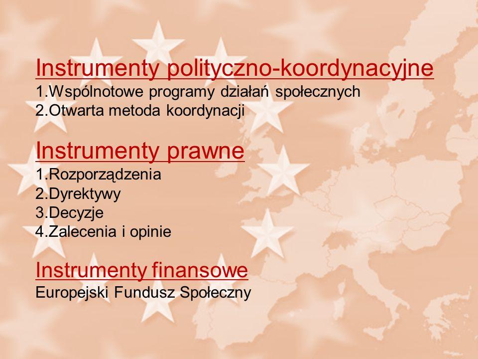 Instrumenty polityczno-koordynacyjne 1.Wspólnotowe programy działań społecznych 2.Otwarta metoda koordynacji Instrumenty prawne 1.Rozporządzenia 2.Dyr