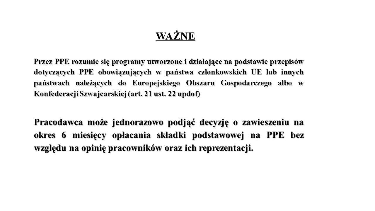 WAŻNE Przez PPE rozumie się programy utworzone i działające na podstawie przepisów dotyczących PPE obowiązujących w państwa członkowskich UE lub innych państwach należących do Europejskiego Obszaru Gospodarczego albo w Konfederacji Szwajcarskiej (art.
