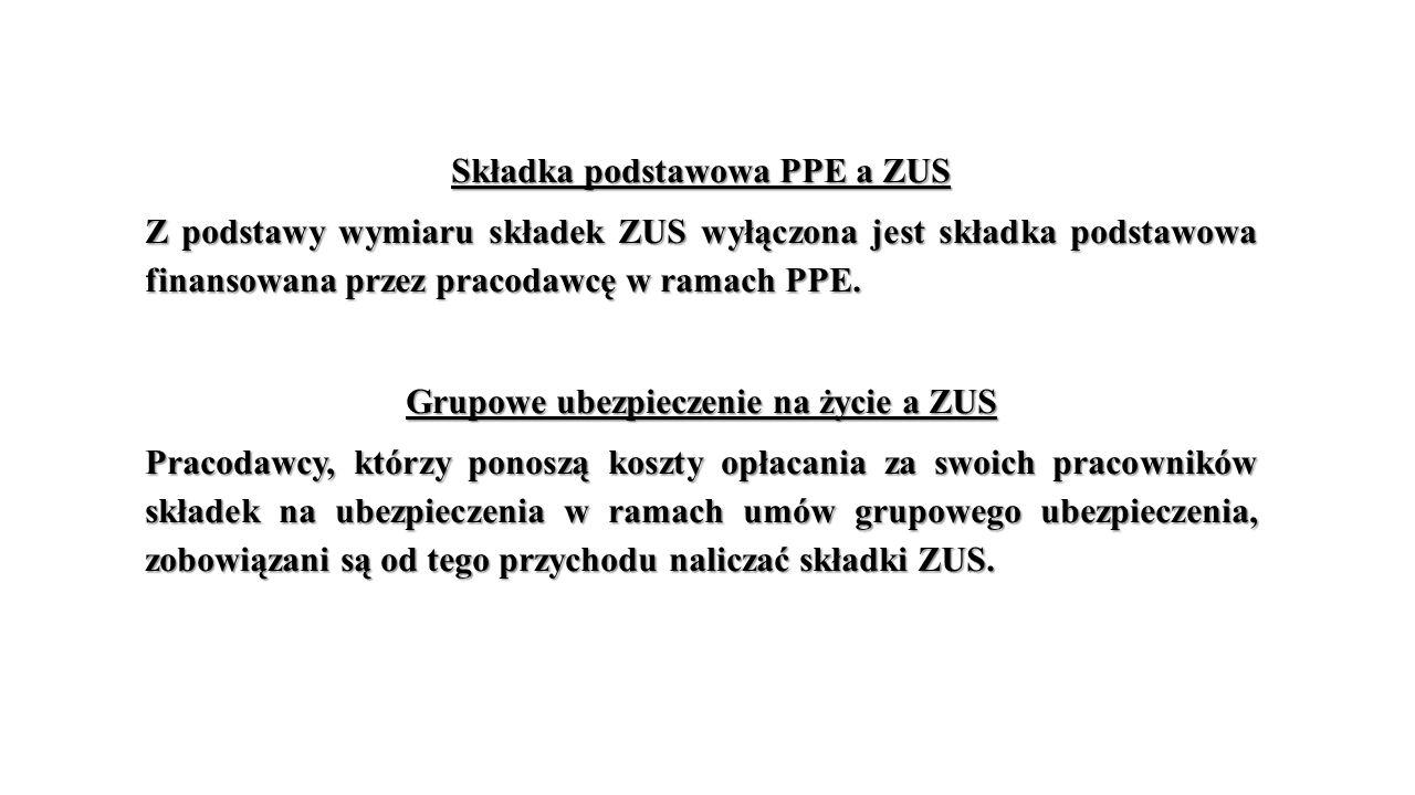 Składka podstawowa PPE a ZUS Z podstawy wymiaru składek ZUS wyłączona jest składka podstawowa finansowana przez pracodawcę w ramach PPE.