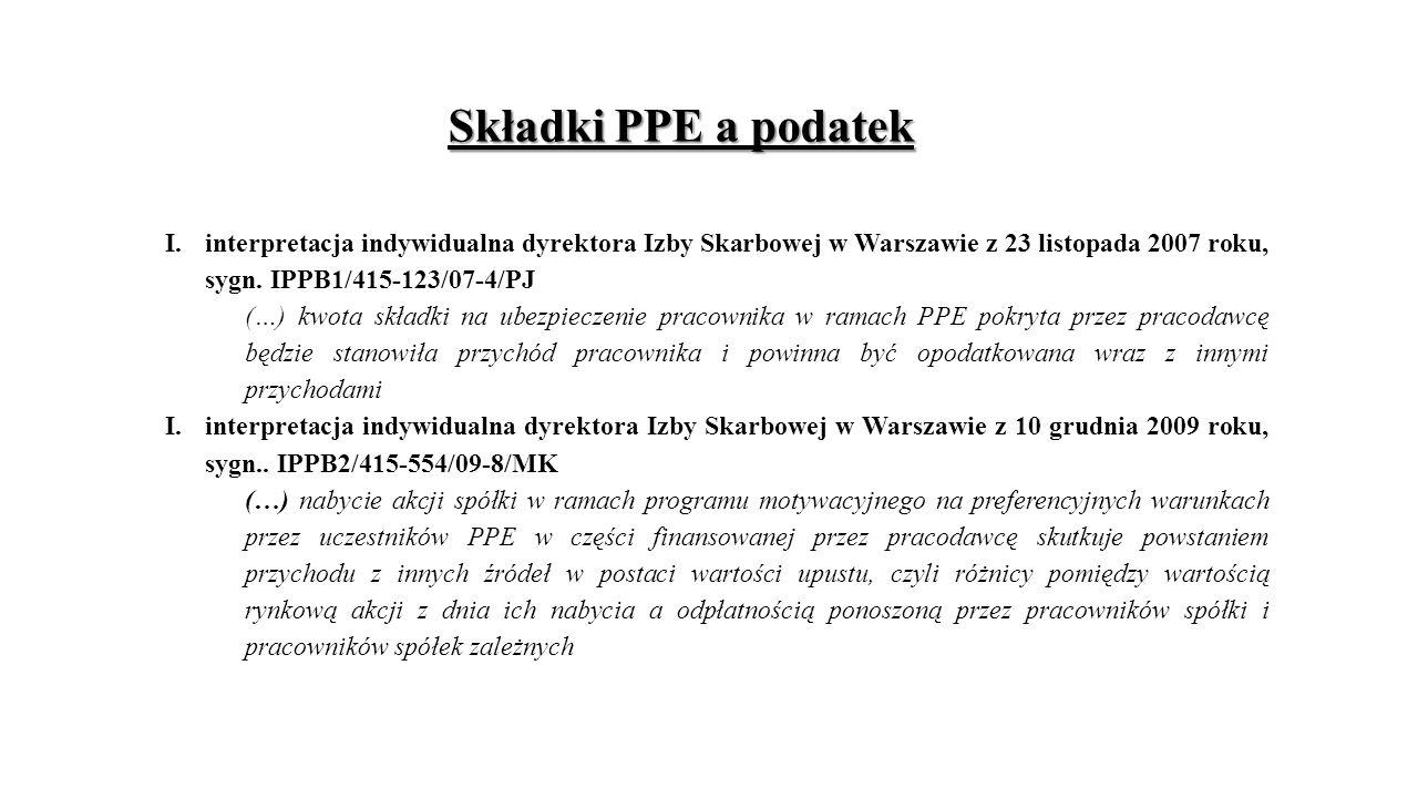 Składki PPE a podatek I.interpretacja indywidualna dyrektora Izby Skarbowej w Warszawie z 23 listopada 2007 roku, sygn.