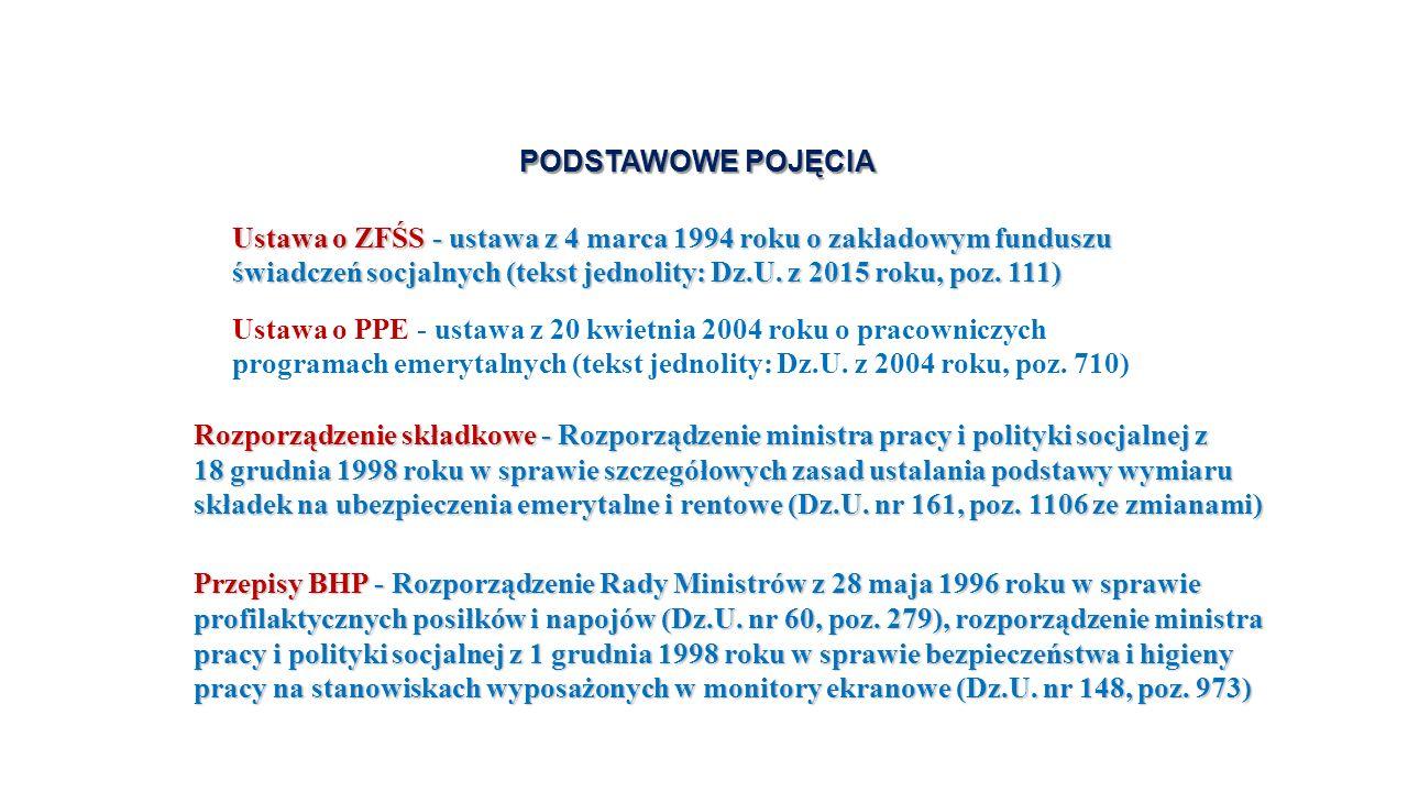 PODSTAWOWE POJĘCIA PODSTAWOWE POJĘCIA Ustawa o ZFŚS - ustawa z 4 marca 1994 roku o zakładowym funduszu świadczeń socjalnych (tekst jednolity: Dz.U.