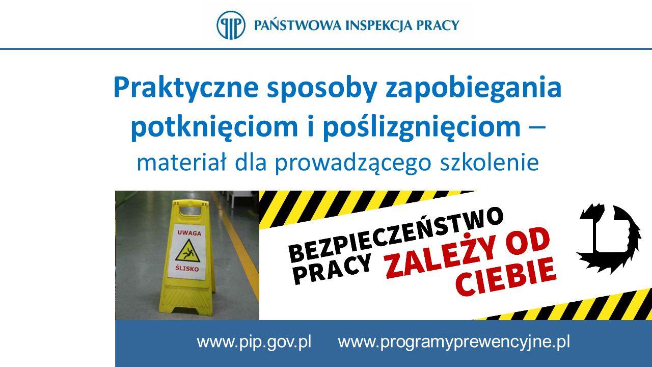 2 www.pip.gov.pl Slajd tytułowy Prezentacja została przygotowana w Państwowej Inspekcji Pracy i przedstawia praktyczne sposoby ograniczania zagrożeń powodujących potknięcia, poślizgnięcia i związane z nimi upadki na tym samym poziomie.