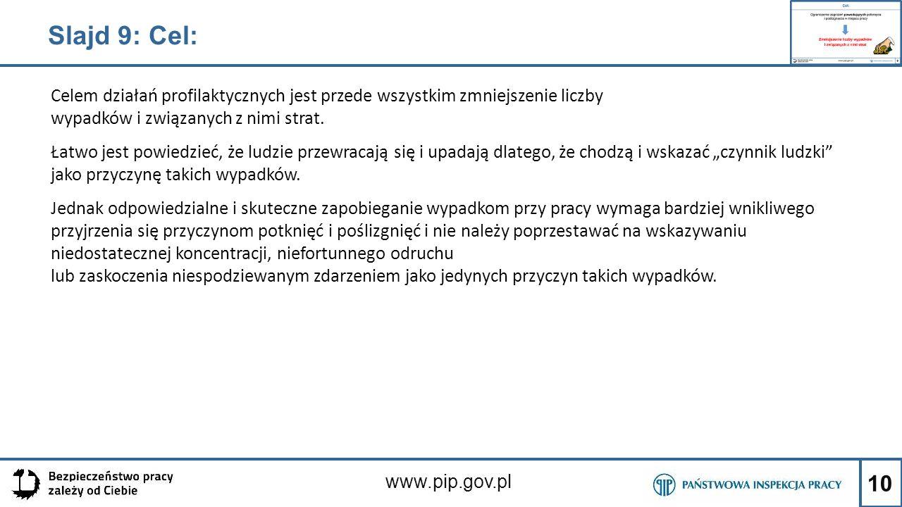 10 www.pip.gov.pl Slajd 9: Cel: Celem działań profilaktycznych jest przede wszystkim zmniejszenie liczby wypadków i związanych z nimi strat. Łatwo jes