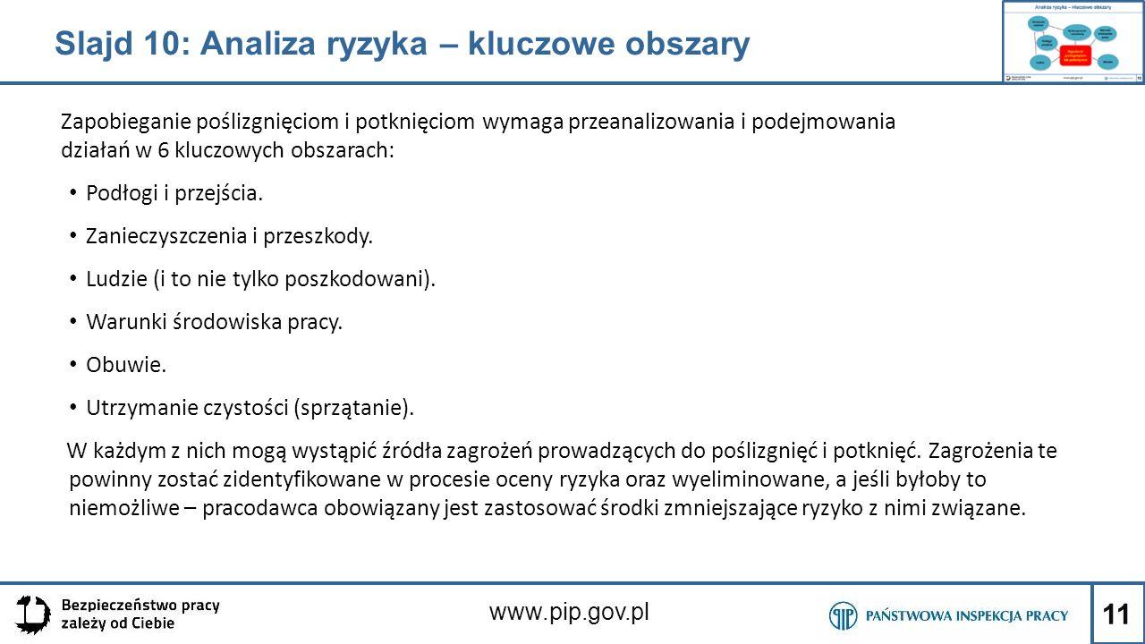11 www.pip.gov.pl Zapobieganie poślizgnięciom i potknięciom wymaga przeanalizowania i podejmowania działań w 6 kluczowych obszarach: Podłogi i przejśc